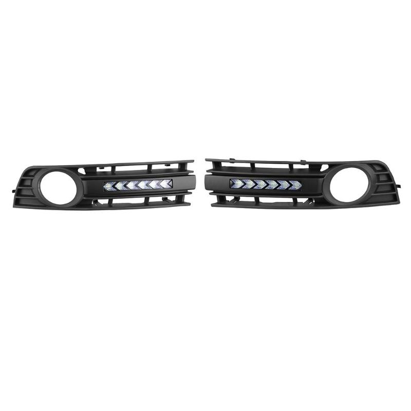 все цены на Front Fog Light Grille Cover with Flowing LED Lamp DRL for Audi A4 B6 01-05 онлайн