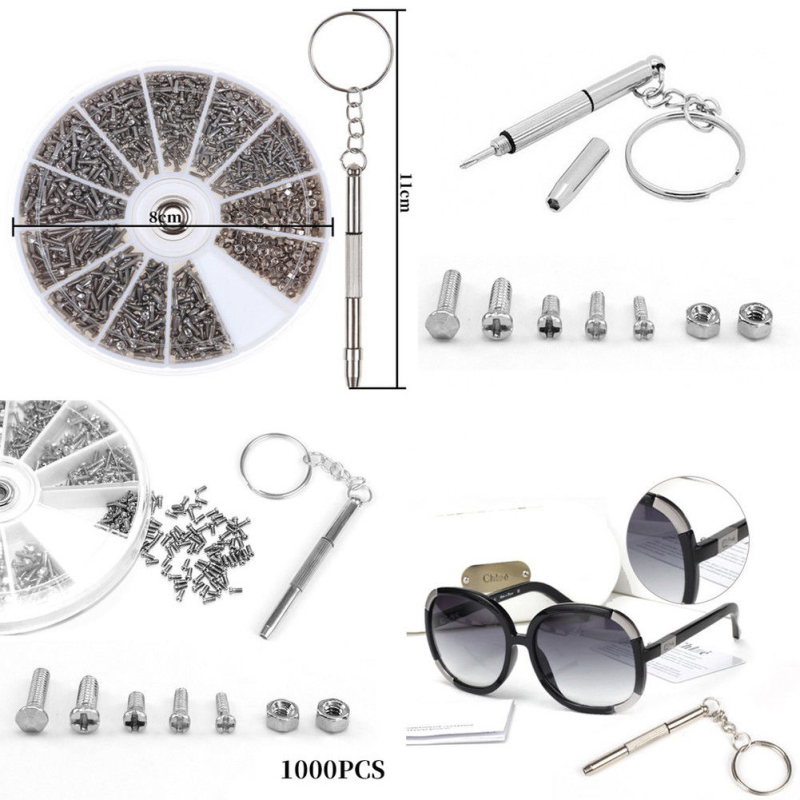 Assortment Repair Kit For Eyeglass optician Screw And a screwdriver 600PCS
