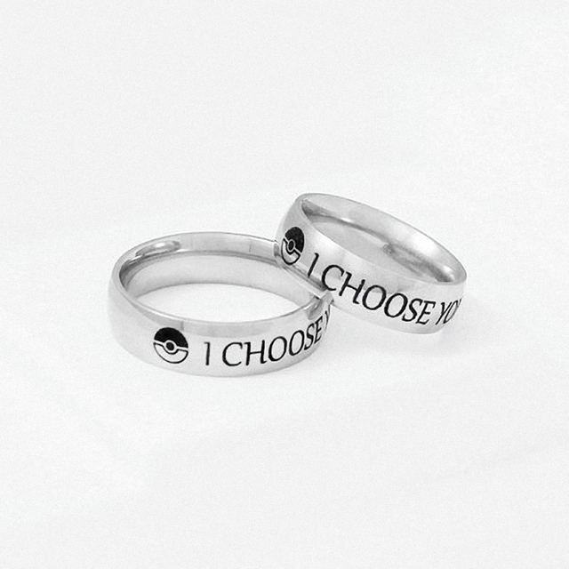I Choose You Ring Stainless Steel Couple Rings Engagement His Her