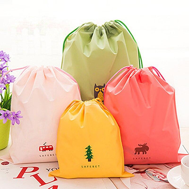Home Organization PVC Waterproof Storage Bag For Shoes Clothing Underwear House Organizer Bag Drawstring Bag Housekeeping