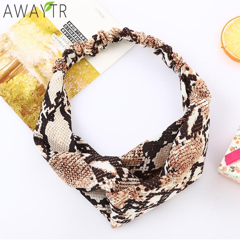 AWAYTR Women Fashion Snake Elastic Cross Hairbands Width Stretch Leopard Hendbands Hair Bands Girl Headwear of Hair Accessories