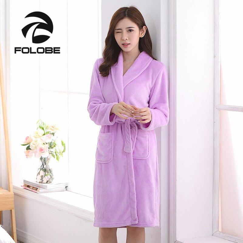 96996cfa7a30 FOLOBE Light Purple Autumn Winter Bathrobes for Women Lady s Long Sleeve Flannel  Robe Female Sleepwear Lounges Homewear Pyjamas-in Robes from Underwear ...