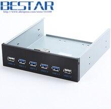 4 Ports USB 3.0 + 2 Ports USB 2.0 Desktop Computer Front Panel Optical Drives Expansion USB3.0 CD-ROM Bracket Mount HUB Bay