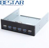 4 Ports USB 3.0 + 2 Ports USB 2.0 Desktop Computer Front Panel Optical Drives Expansion USB3.0 CD ROM Bracket Mount HUB Bay