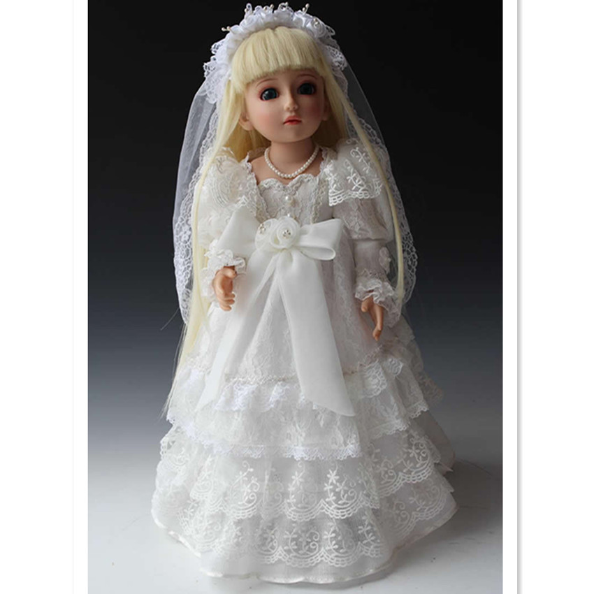 New Style SD/Bjd Doll Girls Doll with Wedding Dress Blue Eyes,18 Inch Cute Princess Doll Toys for Childrens Gift
