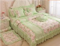 100 Cotton Bedding Four Piece Set Ruffle Bed Skirt Light Green Fresh Piece Bedding Set Bamboo