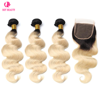 Hot Beauty Hair Brazilian Human Hair Black Roots 1B/613 Body Wave Weave Bundles With Free Part Lace Closure Remy Hair 4PCS