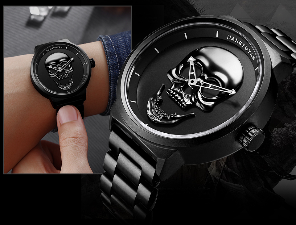 1739-960_06  2018 Scorching Pirate Punk 3D Cranium Males Watch Model Luxurious Metal Quartz Male Watches Retro Trend Gold Black Clock Relogio Masculino HTB1X3dZnqSWBuNjSsrbq6y0mVXaR