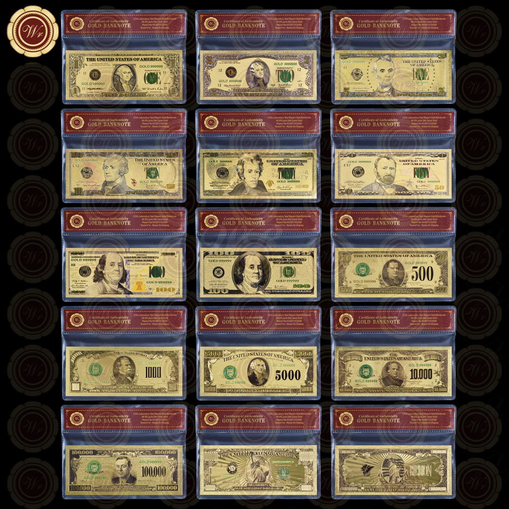 WR Home Decorative Colorful Gold Banknote Quality 24k Gold Plated US Paper Money Set Business Souvenir Gifts Fake Money