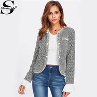 Sheinside Contrast Ruffle Cuff Curved Tweed Blazer Women Collarless Single Breasted Fitted Office Lady 2017 Elegant