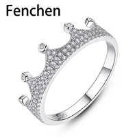 Fenchen 925 Sterling Silver Sparkling Crown Rings for Women Wedding Engagement Fine Jewelry Anel Bijoux Femme Lover Gifts AR070