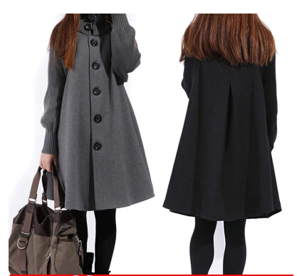 Sale Casacos Femininos Outwear Coat Abrigos Mujer Autumn And Winter Cloak Outerwear Women Wool Coat Long Maternity Clothing #C5