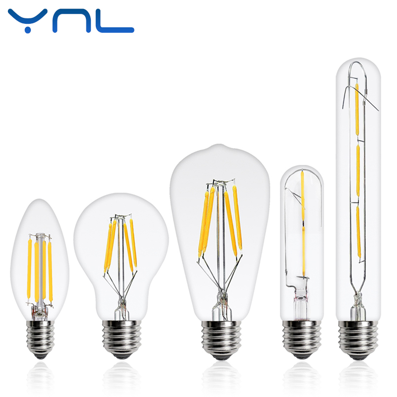 YNL 2017 NEW LED Edison Bulb E27 E14 Real watt 2W 4W 6W 8W LED Filament lamp Vintage LED Edison Lamp 220V Retro Candle Light 10x 5w watt 2r2 2 2 ohm 5