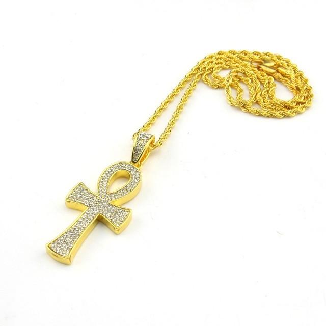 Egyptian ankh key pendant yellow full cz imitated zirconia cross egyptian ankh key pendant yellow full cz imitated zirconia cross pendant with twisted singapore chain necklace aloadofball Gallery