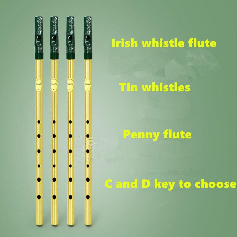 Irish Pfeife Flöte Feadog C D Schlüssel Zinn Pfeife Irish Penny pfeife 6 Loch Klarinette Flöte Nickel Überzogene Flauta Musical instrument