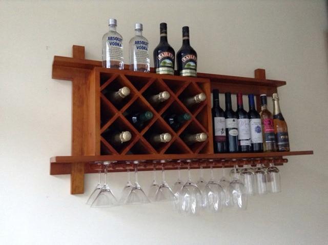 Wood Wine Rack Wall Wine Rack Creative Wall Hanging Bar Lattice