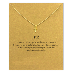 Hot Sale FE Cross Necklace Gold Dipped Pendant Necklace Clavicle Chain Statement Necklace Women Jewelery D073