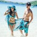 Nuevos Cortocircuitos del Tablero de Los Hombres pantalones Cortos Amante Pareja Beach Wear Mujeres Tabla Corta Bikini conjunto Par de trajes de Baño