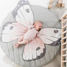Ins New Butterfly Print Round Infant Toddler Baby Crawling Mat Play Game Carpet Kis Rugs Thicknes 2CM Childrens Room Decoration