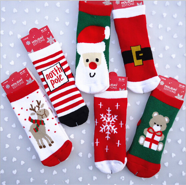 New Cotton Lovely Baby Christmas Sock Kids Boys Girls Slip-resistant Floor Warm Sock For New Year Gift