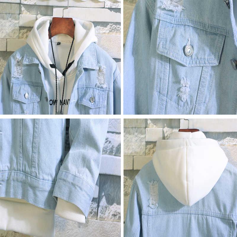 Dimusi Mens Denim Jacket Lente Herfst Mens Trendy Fashion Bomber Jassen Dunne Ripped Denim Jas Mannelijke Cowboy Jeans Jassen, YA858