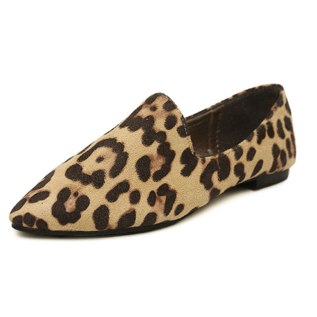 Pointy Toe Deep Mouth Personality Leopard Large Size 40 41 42 43 Women Flats Discount Cheap Sale Female Single Shoes
