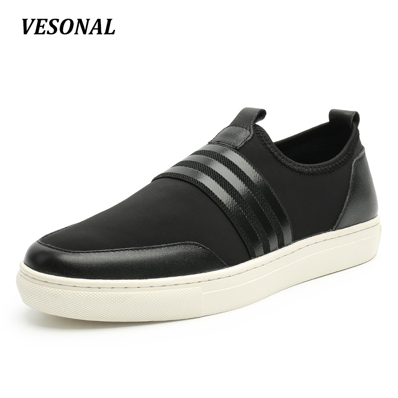 VESONAL 2017 Genuine Leather Fabric Patchwork Slip On Loafers Men Shoes Fashion Personality Stripe Mens Shoes Casual SD6092 vesonal 2017 top quality lycra outdoor ultralight slip on loafers men shoes fashion stripe mens shoes casual sd7005