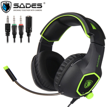 SADES SA818 Casque PS4 Gaming Headset Bass Earphones with Microphone Stereo PC Headphones for Mac Cell Phone New Xbox One Laptop sades r3 gaming headset 3 5mm bass surround sound headphones with y adapter for ps4 xbox one pc phone