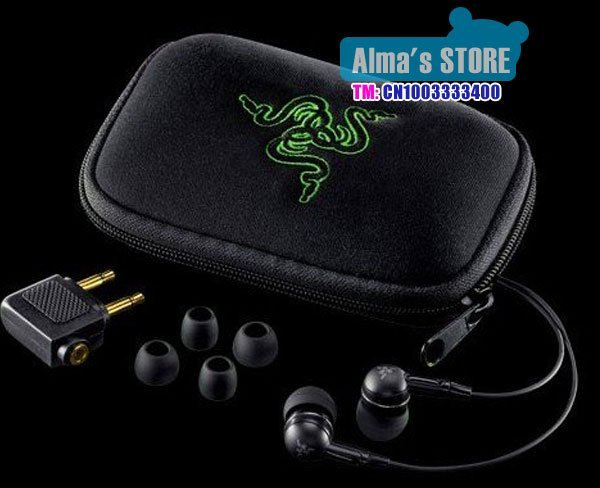 free shipping Razer earphone  Razer Moray headphone black comes in bag