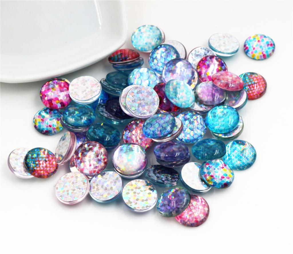 New Fashion 20pcs 12mm Fish scale Handmade Photo Glass Cabochons Pattern Domed Jewelry Accessories Supplies-E6-50