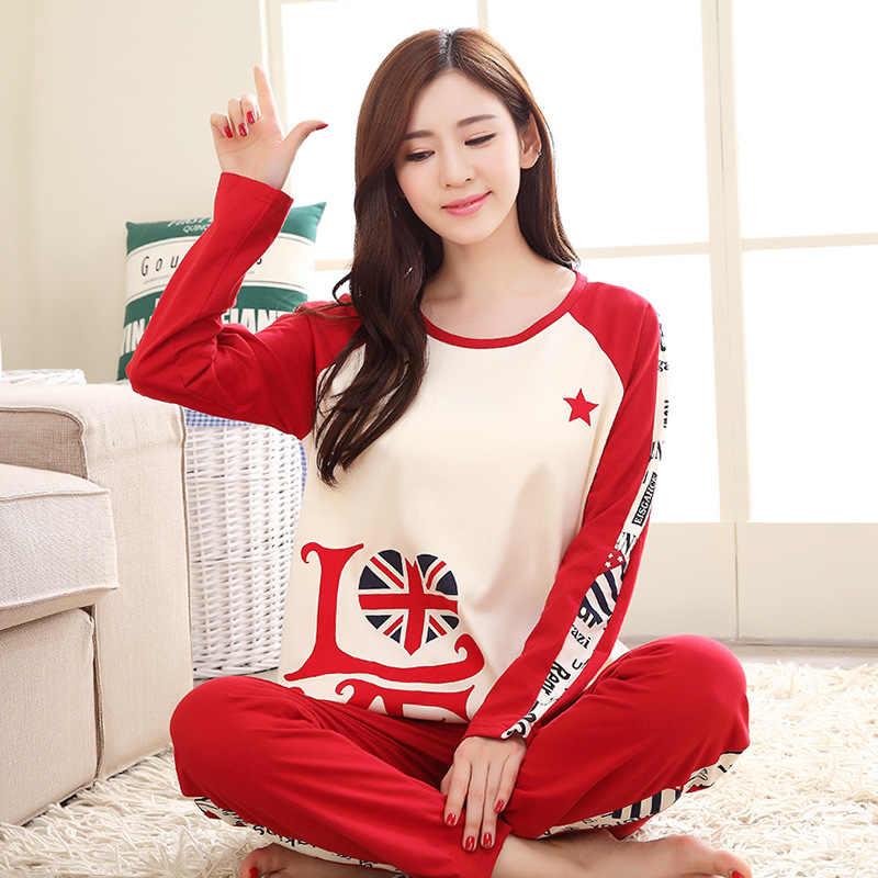 ... Бренд весна осень с длинными рукавами хлопок женская пижама комплект  мультфильм пижамы для девочек Mujer Леди ... c1174bf5c8614