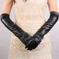 2015 cosplay Halloween  women sexy autumn winter New opera long genuine  leather dress show bow knot touch screen gloves mittens