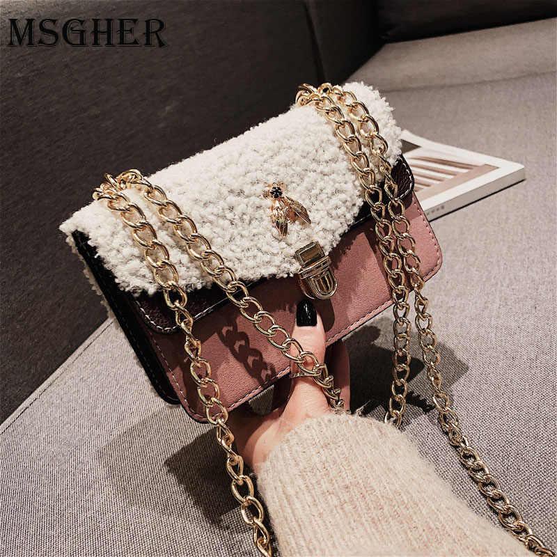 MSGHER Designer Women Shoulder Bag Chain Strap Flap Brands leather Handbags  Clutch Bag girls Messenger Bags a779542227e3