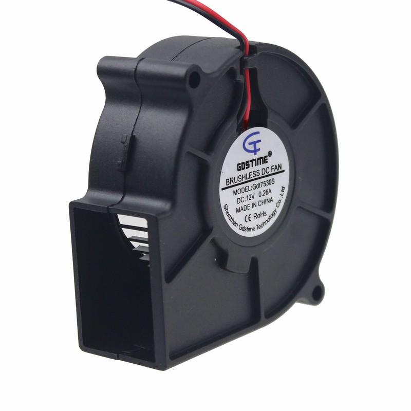 Gdstime 1 pcs 12v 75x30mm brushless dc cooling blower fan for 24 volt fan motor