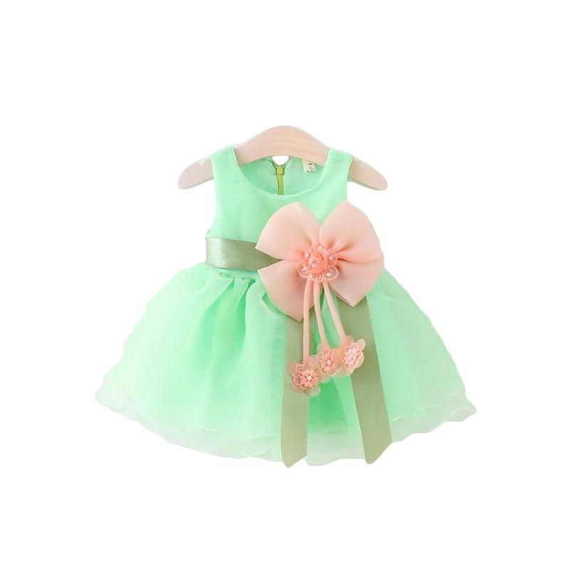 5179d2585 الصيف الجديدة 2018 طفل الفتيات الشيفون فساتين الرضع فتاة القوس اللباس زهرة  الفتيات اللباس الاطفال عيد ميلاد باتي اللباس الطفل الملابس