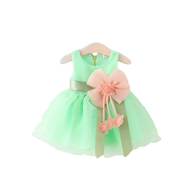 Summer New 2018 Baby Girls Chiffon Dresses Infant Girl Bow Dress Flower Girls Dress Kids Birthday Paty Dress Baby Clothes ladylike v neck short sleeve spliced laciness flower pattern dress for women