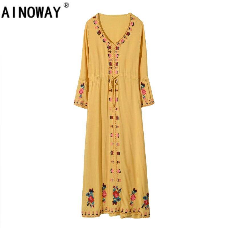 c3dbb6db7ca06 Lyprerazy Women Dress Floral Embroidery Loose Cardigan Dress Holiday ...