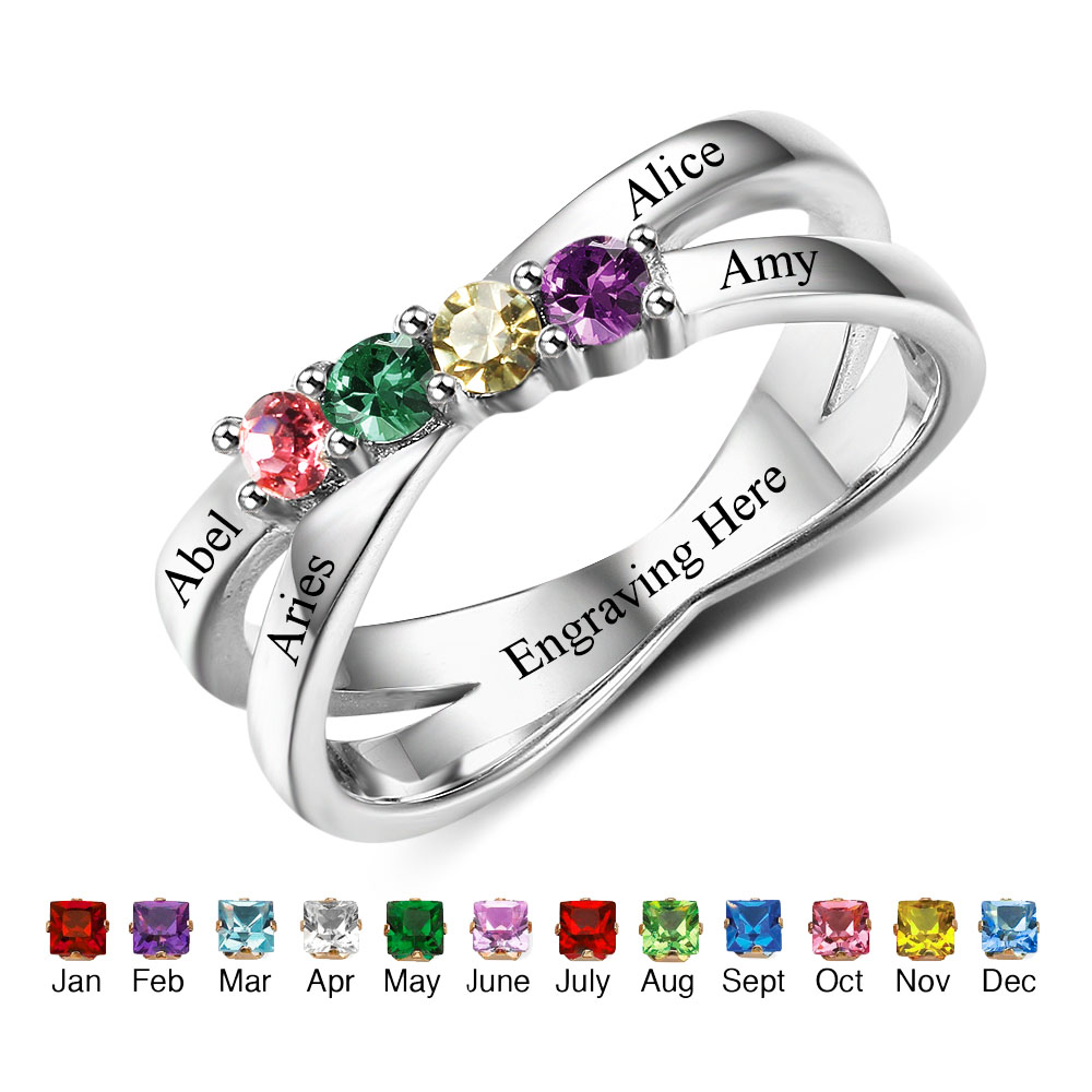 Personalized Jewelry Birthstone Rings Engrave Names Custom 925 Sterling Silver Rings For Mothers Family (RI102509)