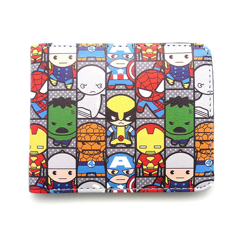 Zshop Comics Marvel Wallets the Avengers Iron Man Captain/Superman Short Purse Credit Card Holder Cartoon Wallet for Boys Girls baby boy clothes set autumn children clothing sets kids girls long sleeve elephant cotton pants boys clothes sports suit