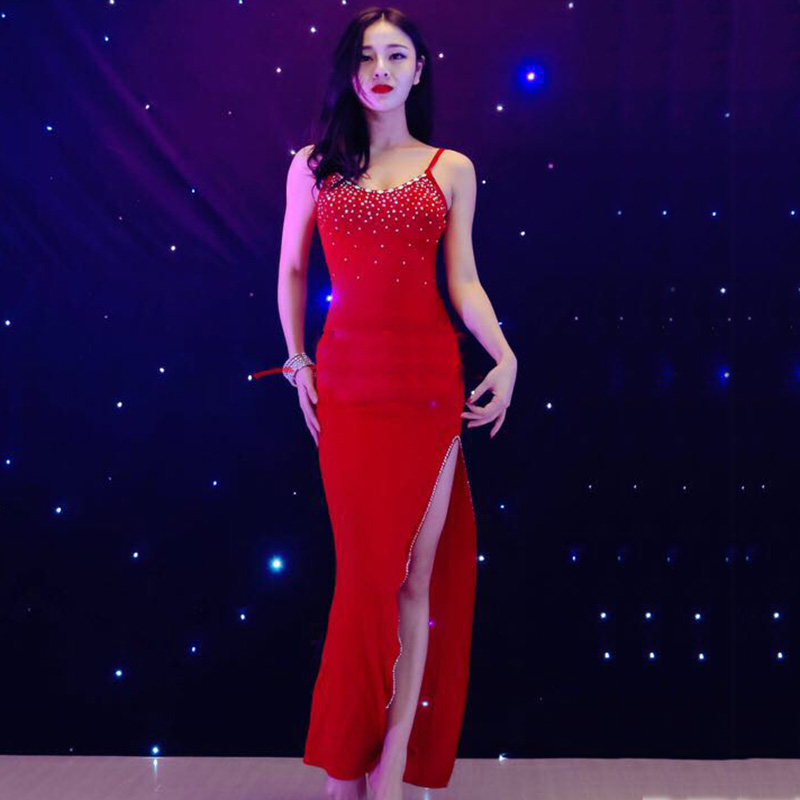 Cheap New Sexy Latin Dance Dress Women Fashion Original Red Backless Dresses Lady Rumba Flamenco Ballroom Dance Costumes B226