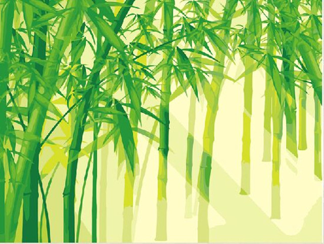 bamboo painting hand paint green canvas draw wall painting oil ...