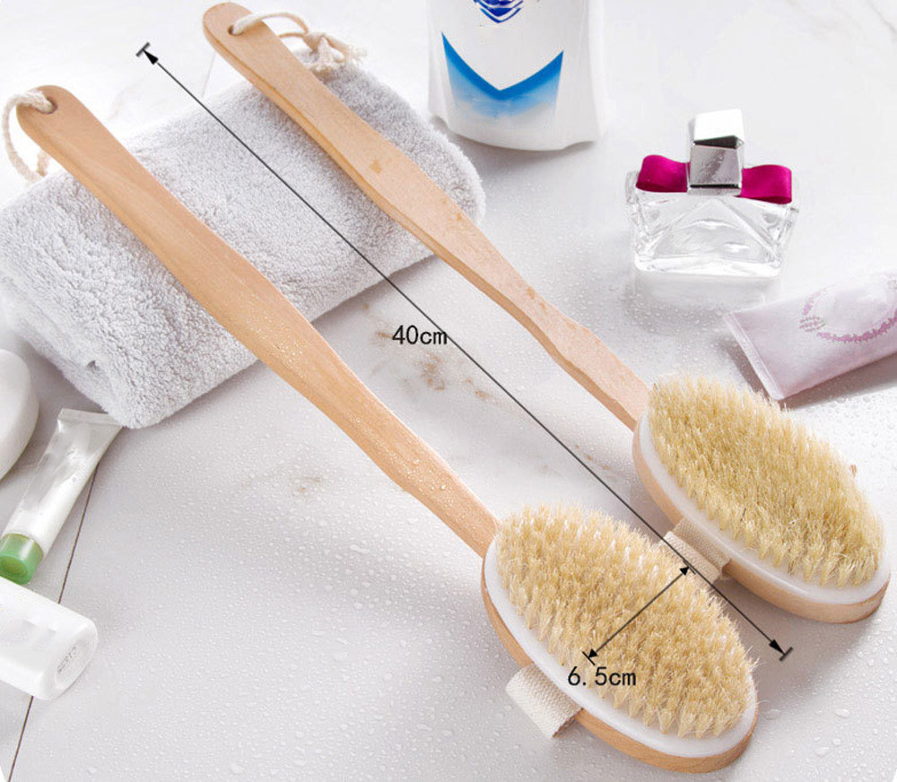 1Pc Bath Body Brush Boar Bristles Exfoliating Body Massager With Long Wooden Unloaded Handle For Dry Brushing and Shower 10Jul 5