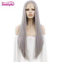 Imstyle Lace Front Wig Straight Grey Long Wigs For Women Heat Resistant Fiber Synthetic Lace Wig Gray Natural Hair Lady Cosplay