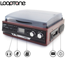 LoopTone Stereo Phono Players Turntable Vinyl LP Record Player With AM/FM Radio USB/SD Aux Cassette MP3 Recorder Headphone Jack
