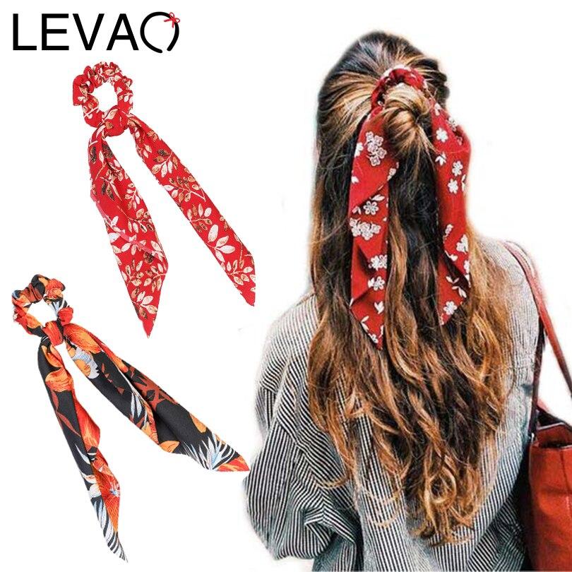 LEVAO Women Floral Print ScrunchieHair Scarf Elastic Bohemian Hairband Bow Hair Rubber Ropes Girls Hair Ties Accessories Fashion