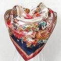 90cm*90cm fashion Flower print scarf for women hijab bufandas mujer 2017 new  classic Muslim headscarf echarpe femme A309