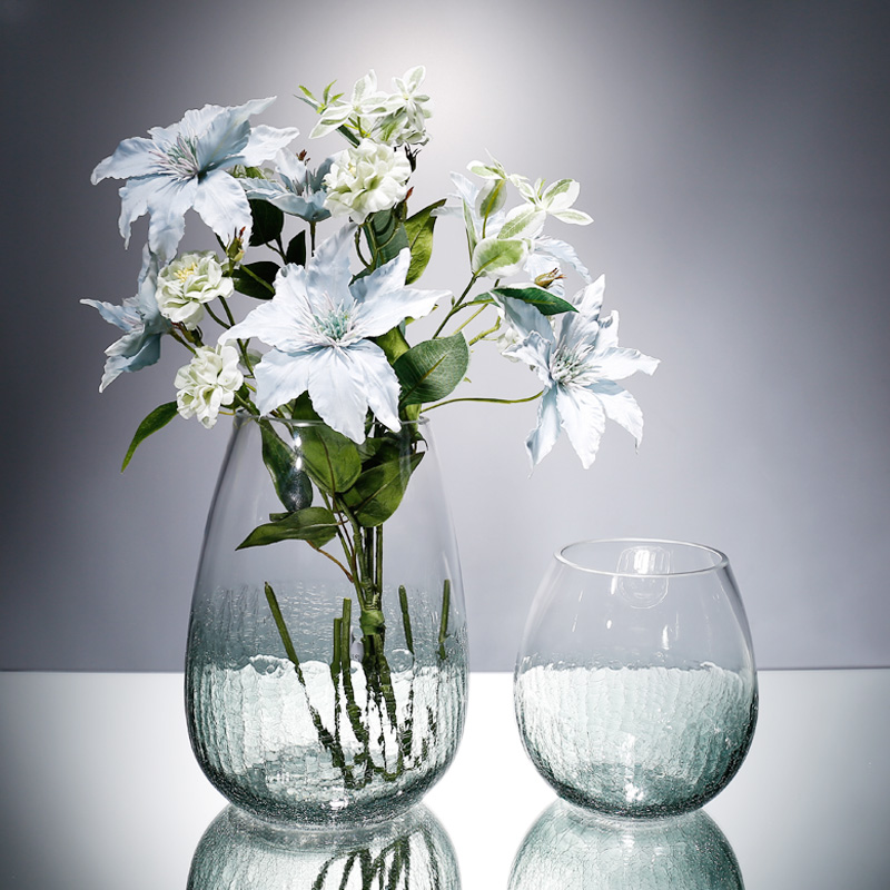 Modern glass vase Ice crack Crafts terrarium glass containers Tabletop flower vases for homes centerpieces for weddings decor