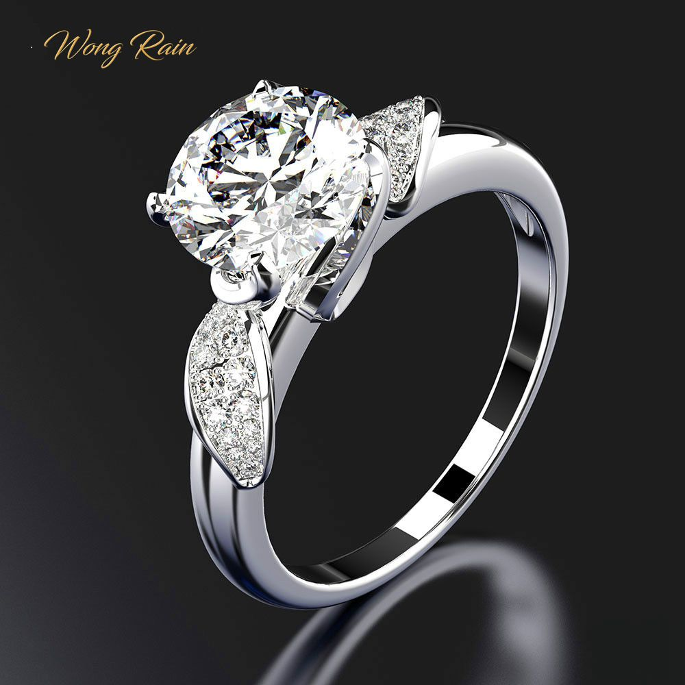 Wong Rain 100% 925 Sterling Silver White Sapphire Gemstone Wedding Engagement Cocktail Ring Fine Jewelry Wholesale Drop Shipping