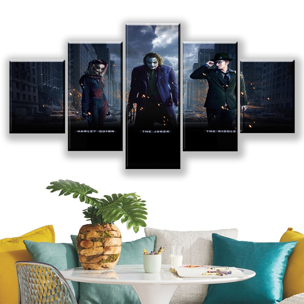 Canvas Pictures Living Room Wall Poster Frames Modern Modular HD Print Decor 5 Panel Batman Harley Quinn Joker Riddler Painting in Painting Calligraphy from Home Garden