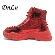 2019 Fashion High Top Mens Sneakers Shoes Casual Rivet Studded Flats Men's Trainers Lace Up Ankle Boots Spiked Shoes Men 21D50 2016 luxury brand mens high top flats shoes vintage full leather lace up ankle boots tialian handmade elegant mens formal shoes